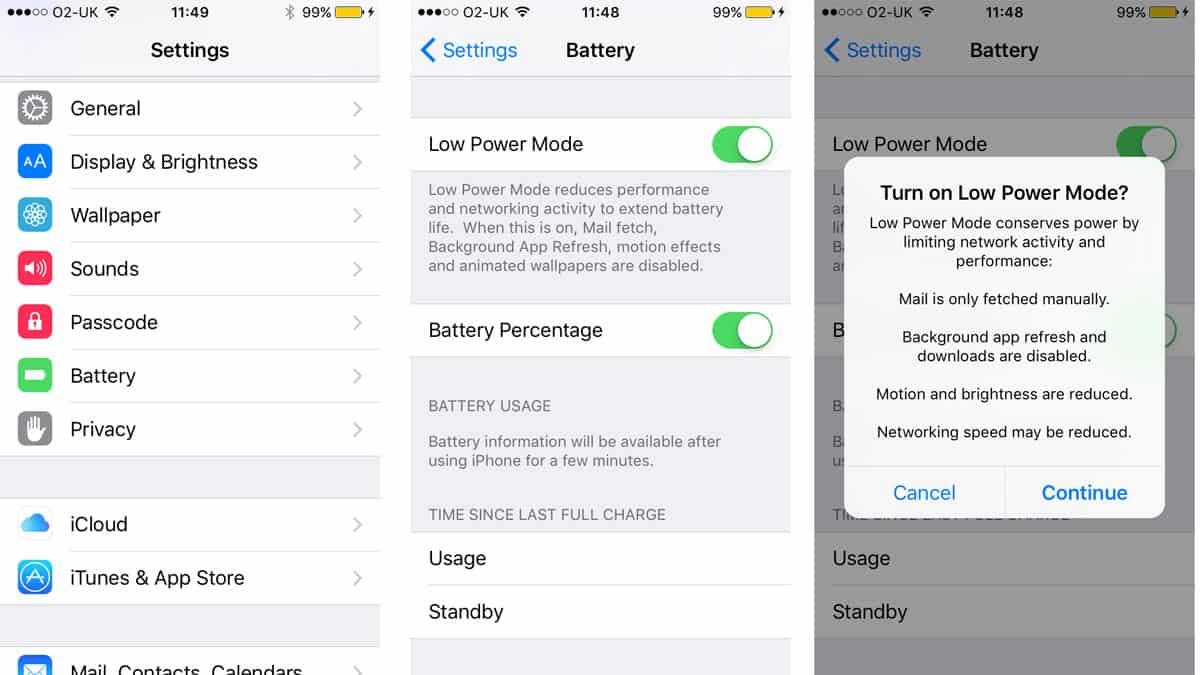iOS 9 low-power battery saving mode