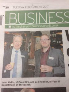 Lee Hewson of Your IT Department in the Nottingham Post