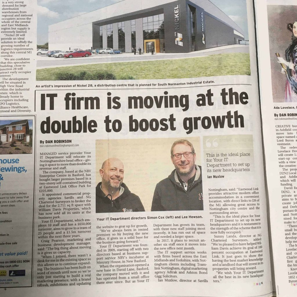Article on Your IT moving premises which appeared in the Nottingham Post
