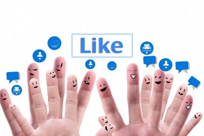 Fingers showing social media channels
