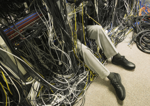 IT Technician buried in wires