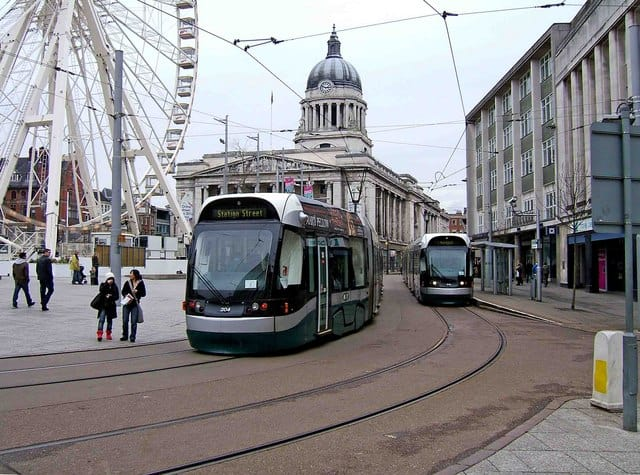 Tram lines providing infrastructure for broadband Nottingham