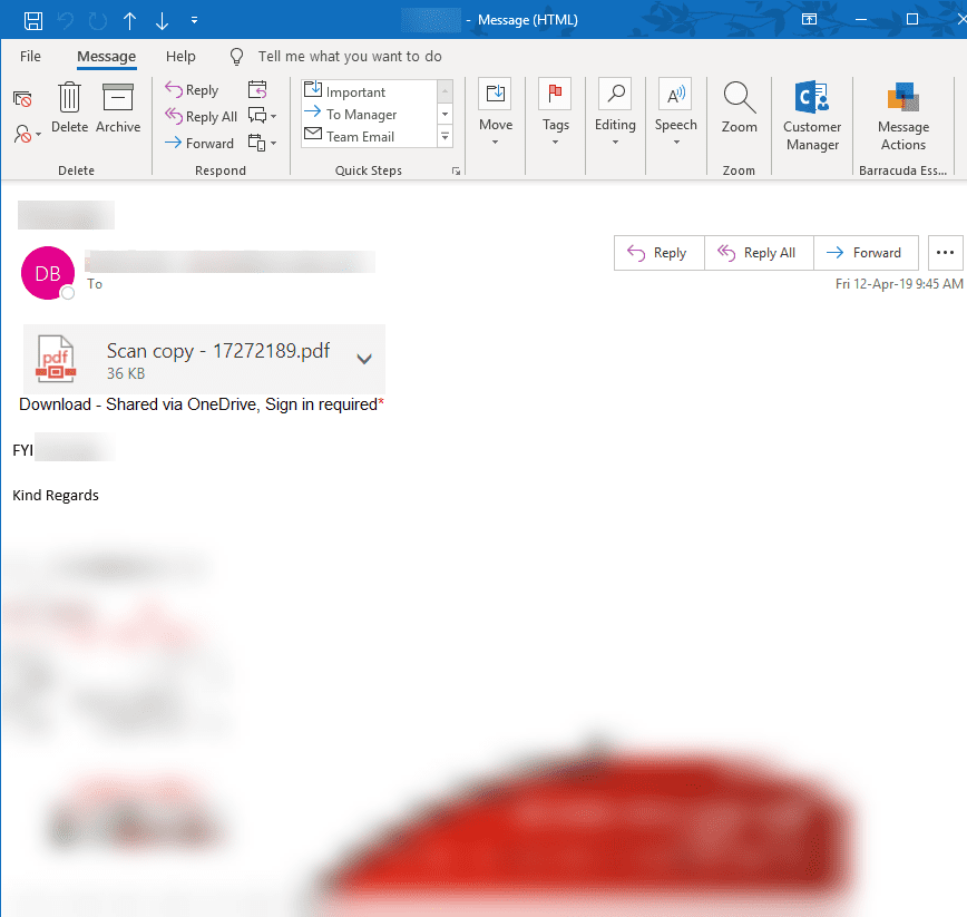 Original spear phishing email for forms.office.com scam