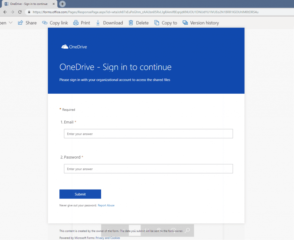 OneDrive sign in box created in MIcrosoft Forms to dupe users as part of a phishing attack