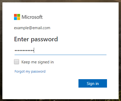 Demonstration of a password entry box