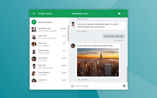 Google Hangouts screenshot. Which is better Office 365 or G Suite.