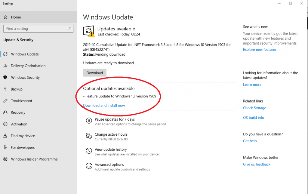 Windows 10 update window